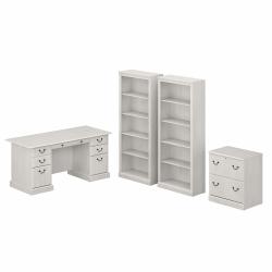 """Bush Furniture Saratoga 66""""W Executive Desk With File Cabinet And 5-Shelf Bookcase Set, Linen White Oak, Standard Delivery"""