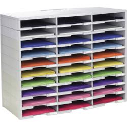 "Storex Stackable Literature Sorter - 15000 x Sheet - 30 Compartment(s) - 9.50"" x 12"" - 25.5"" Height x 14.1"" Width31.4"" Length - Gray - Plastic - 1Each"