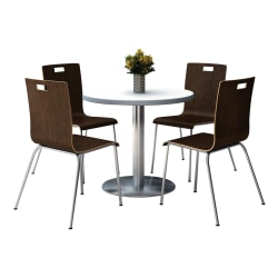 """KFI Studios Jive Round Pedestal Table With 4 Stacking Chairs, 29""""H x 36""""W x 36""""D, Espresso/Crisp Linen"""