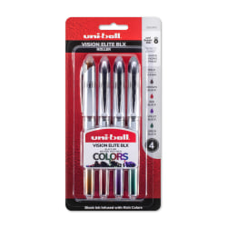 uni-ball® Vision™ Elite™ Liquid Ink Rollerball Pens, Bold Point, 0.8 mm, White Barrels, Assorted Ink Colors, Pack Of 4