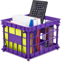 "Storex Storage Crate - External Dimensions: 14.3"" Width x 17.3"" Depth x 11.2"" Height - Stackable - Assorted - For File, Classroom Supplies - Recycled - 3 / Set"