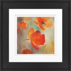 """Timeless Frames Alexis Framed Floral Artwork, 8"""" x 8"""", Black Frame, Poppies In Bloom I"""