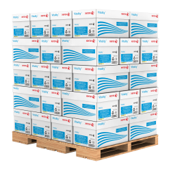 """Xerox® Vitality™ Pastel Multi-Use Paper, Letter Size (8 1/2"""" x 11""""), 20 Lb, FSC® Certified, 30% Recycled, Yellow, Ream Of 500 Sheets, 10 Reams Per Case, Pallet Of 40 Cases"""