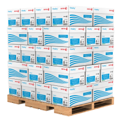 """Xerox® Vitality™ Pastel Multi-Use Paper, Letter Size (8 1/2"""" x 11""""), 20 Lb, FSC® Certified, 30% Recycled, Green, Ream Of 500 Sheets, 10 Reams Per Case, Pallet Of 40 Cases"""