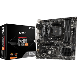 MSI B450M PRO-VDH MAX Desktop Motherboard - AMD Chipset - Socket AM4 - Micro ATX - 64 GB DDR4 SDRAM Maximum RAM - DIMM, UDIMM - 4 x Memory Slots - Gigabit Ethernet - HDMI - 4 x SATA Interfaces