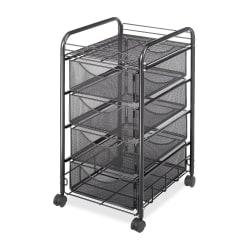 "Safco Tubular Steel Frame Mobile File Cart, 27""H x 15 3/4""W x 17""D, Black"