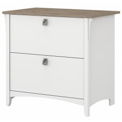 Bush® Furniture Salinas 2 Drawer Lateral File Cabinet, Shiplap Gray/Pure White, Standard Delivery