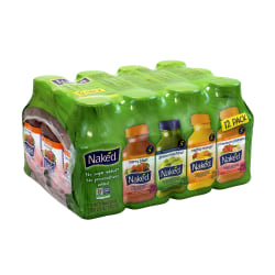 NAKED Juice Fruit Smoothies, 10 Oz, Assorted Flavors, Pack Of 12 Bottles