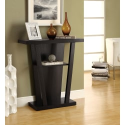 Monarch Specialties Hall Accent Table, Trapezoid, Cappuccino