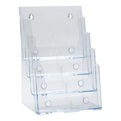 "Azar Displays 4-Tier 4-Pocket Plastic Brochure Holder, Letter Size, 13-1/4""H x 9-1/4""W x 7""D, Clear"