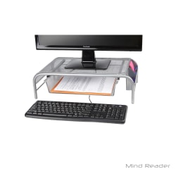 Mind Reader Metal Mesh Monitor Stand With Drawer, Silver