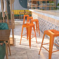 Flash Furniture Commercial Backless Bar Stool, Orange