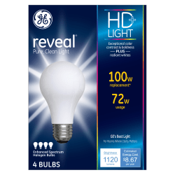 GE Lighting Halogen Light Bulbs, A19, 72 Watts, Pack Of 4 Bulbs