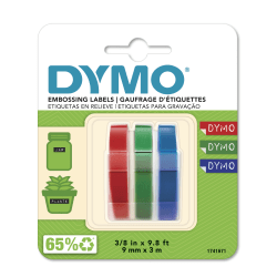 "DYMO® 3D Embossing Labels, 3/8"" x 9 4/5"", Assorted Glossy Colors, Pack Of 3 Rolls"