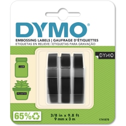 """DYMO® 3D Embossing Labels, 3/8"""" x 9 4/5"""", Glossy Black, Pack Of 3 Rolls"""