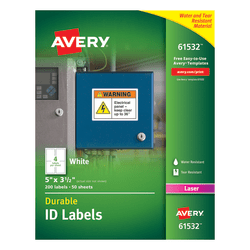 "Avery® Durable ID Labels With TrueBlock® Technology, 61532, 5"" x 3 1/2"", White, Pack Of 200"