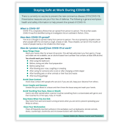 "ComplyRight Coronavirus (COVID-19) Handouts, English, Prevention And Stress Management, 8-1/2"" x 11"", Pack Of 50 Handouts"