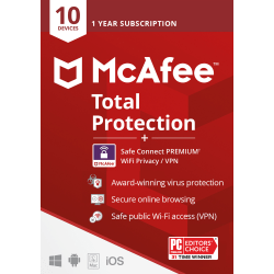 McAfee Total Protection Safe Connect Premium VPN, For PC, Apple Mac, iOS, or Android, 10 Devices, 1-Year Subscription, eCard
