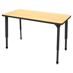 "Marco Group™ Apex™ Series Rectangle Adjustable Table, 30""H x 48""W x 24""D, Maple/Black"
