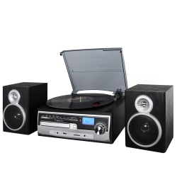 Trexonic 3-Speed Vinyl Turntable Home Stereo System, Silver