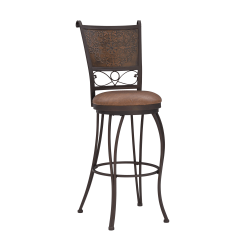 Powell® Home Fashions Bronze with Muted Copper Stamped Back Bar Stool, Brown/Bronze