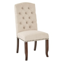 Ave Six Jessica Tufted Dining Chair, Linen/Coffee