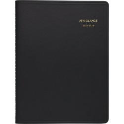 """AT-A-GLANCE® 14-Month Academic Weekly Appointment Planner, 8-1/4"""" x 11"""", Black, July 2021 To August 2022, 709570522"""