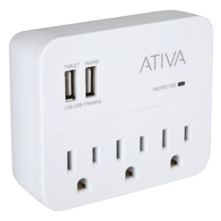 Ativa® 3-Outlet Charging Station Surge Protector, White, LA-3K-B