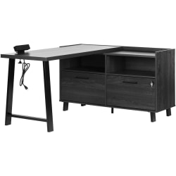 "South Shore Kozack 51""W L-Shaped Desk, Gray Oak"