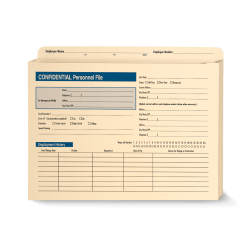 "ComplyRight Expandable Confidential Personnel Files, 12"" x 9 1/2"" x 1 1/2"", Pack Of 25"