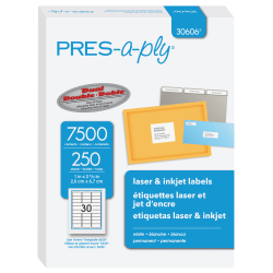 """PRES-a-ply™ Labels for Laser and Inkjet Printers, AVE30606, Permanent Adhesive, 1""""W x 2 5/8""""L, Rectangle,  White, Box Of 7,500"""