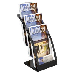 "Deflecto® Contemporary Literature Holder, 3 Leaflet Size Compartments, 13 5/16""H x 6 13/16""W x 6 15/16""D, Black/Clear"