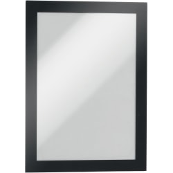 "DURABLE® DURAFRAME® Self-Adhesive Magnetic Half-Letter Sign Holder - 6.5"" x 9.5"" Frame Size - Rectangle - Horizontal or Vertical - Self-adhesive, Magnetic - 2 / Pack - Black"