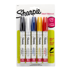 Sharpie® Paint Markers, Medium Point, Assorted Colors, Pack Of 5 Markers
