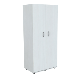"Inval Wooden Wardrobe/Armoire, 3 Fixed Shelves, 2 Doors, 71""H, Laricina White"