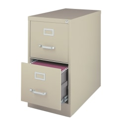 "WorkPro® 26-1/2""D Vertical 2-Drawer Letter-Size File Cabinet, Metal, Putty"