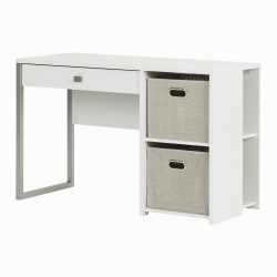 South Shore Interface Desk With Storage Baskets, Taupe/Pure White