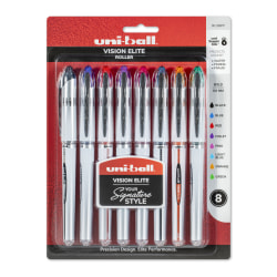 uni-ball® Vision™ Elite™ Liquid Ink Rollerball Pens, Bold Point, 0.8 mm, Black Barrel, Assorted Ink Colors, Pack Of 8