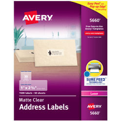 "Avery® Easy Peel® Permanent Laser Address Labels, 5660, 1"" x 2 5/8"", Clear, Pack Of 1,500"