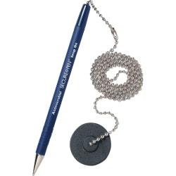 MMF Secure-A-Pen Counter Pen, Medium Point, Refillable, Blue Barrel, Blue Ink