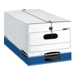 "Bankers Box® Stor/File™ Medium-Duty Storage Boxes With Locking Lift-Off Lids And Built-In Handles, Letter Size, 24"" x 12"" x 10"", 60% Recycled, White/Blue, Case Of 3"