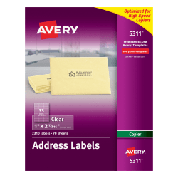 """Avery® Permanent Clear Copier Address Labels, 5311, 1"""" x 2 13/16"""", Pack Of 2,310"""