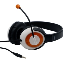 AVID AE-55 Headset with Rotating Microphone, 3.5mm, Orange - Mini-phone - Wired - Over-the-head - 6 ft Cable - Uni-directional, Noise Cancelling Microphone - Noise Canceling - Orange