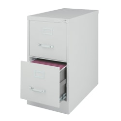 "WorkPro® 26-1/2""D Vertical 2-Drawer Letter-Size File Cabinet, Metal, Light Gray"