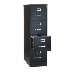 "WorkPro® 26-1/2""D Vertical 4-Drawer Letter-Size File Cabinet, Metal, Black"