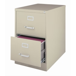 """WorkPro® 26-1/2""""D Vertical 2-Drawer Legal-Size File Cabinet, Metal, Putty"""
