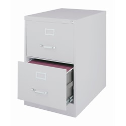 "WorkPro® 26-1/2""D Vertical 2-Drawer Legal-Size File Cabinet, Metal, Light Gray"