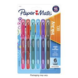Paper Mate® InkJoy Gel Pens, Medium Point, 0.7 mm, Assorted Colors, Pack Of 6 Pens