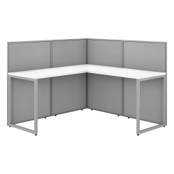 """Bush Business Furniture Easy Office 60""""W L-Shaped Cubicle Desk Workstation With 45""""H Panels, Pure White/Silver Gray, Premium Installation"""