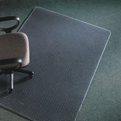 "Deflect-O Execumat Heavy-Duty Vinyl Chair Mat For High-Pile Carpets, 60"" x 60"", Clear"